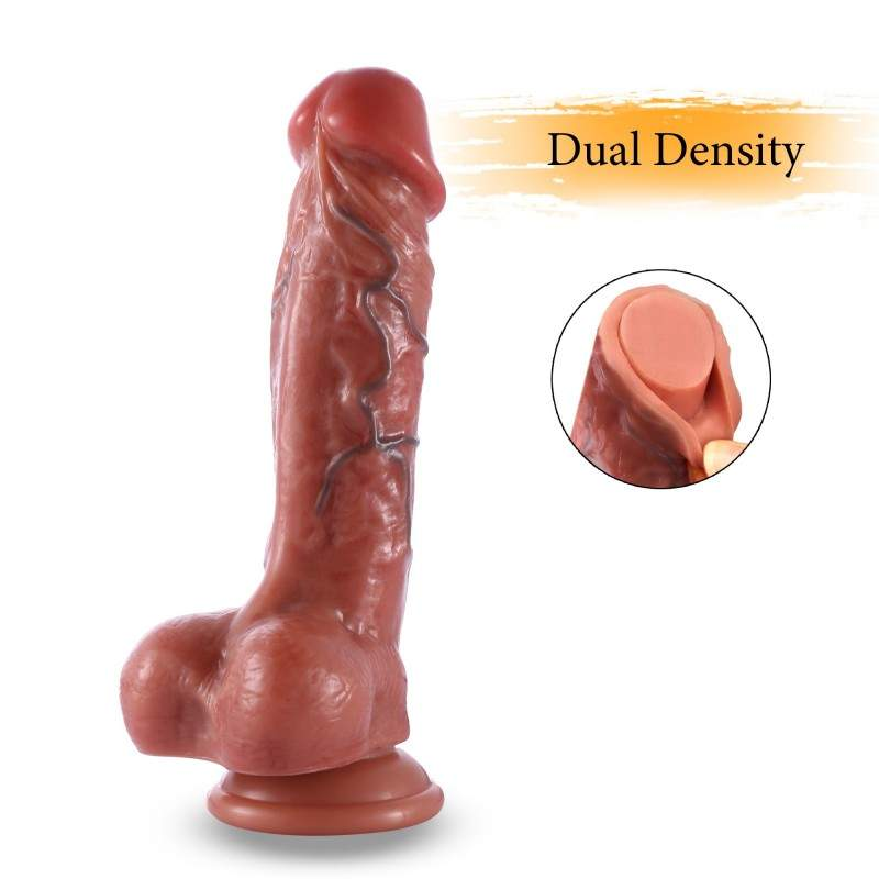 8.3 inch(21cm) Realistic Veiny Dildo, Blood Vessel Painting, with Double-layer Silicone Suction Cup Type Penis