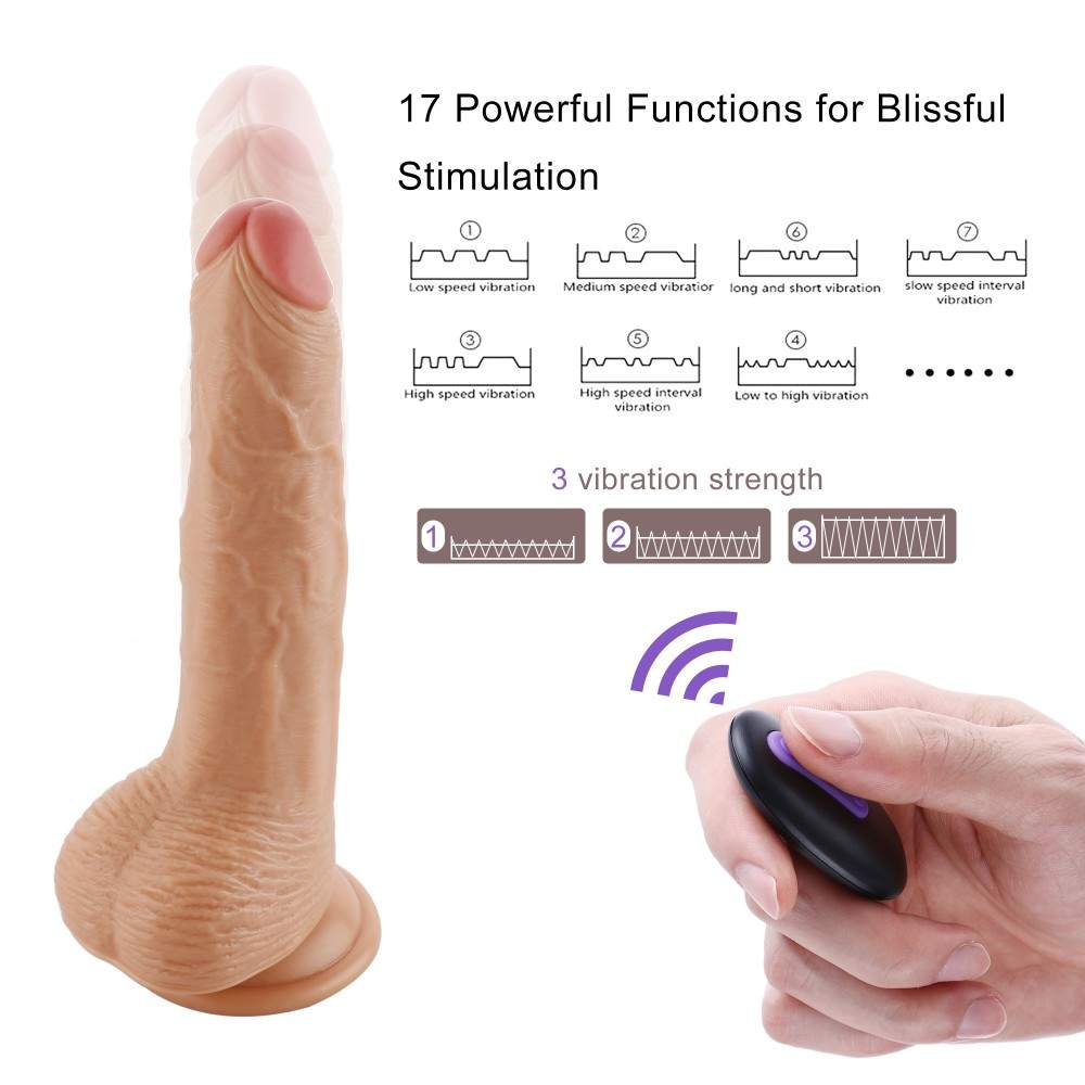 Sinloli Remote Controlled Vibrating Dildo,With Suction Cup