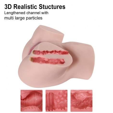 SINLOLI Latest Dual Channel Real Person Copy Ass Doll,3D Realistic Male Masturbator Vagina Anus Butt Sex Toys