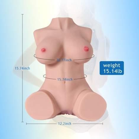 SINLOLI 7KG Realistic 3D Male Masturbator, Half Body Sex Doll with Vagina and Anal