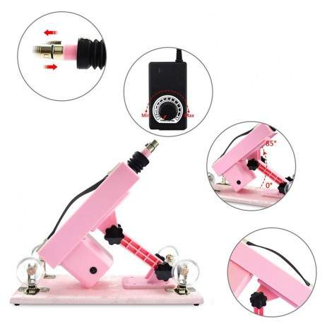 Hismith Adjustable Speed Automatic Sex Machine With Quality Dildo Accessories - Pink