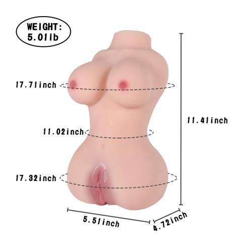 SINLOLI 2.3kg Lifelike Mini Sex Doll for Male Masturbator, Adult Toy Women Torso Sex Toy with Skeleton Pussy Ass TPE Doll
