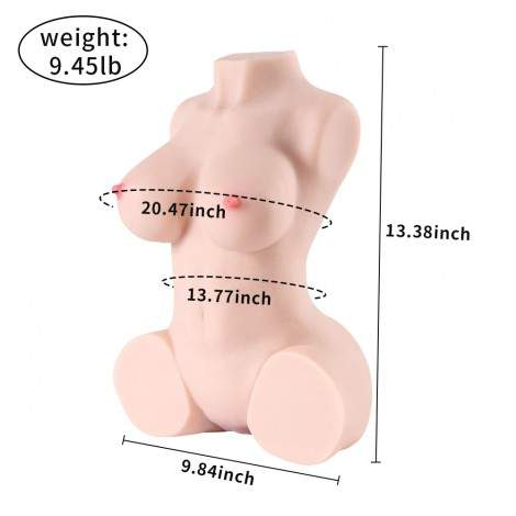 SINLOLI Rolan 4.3kg Realistic 3D Male Masturbator, Half Body Sex Doll with Vagina and Anal