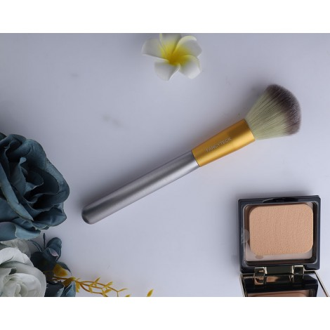 FANCYTECK Premium Makeup Brush, Vegan Makeup Tool, Dome-Shaped, Flawlessly Applies & Blends Foundation, Gold & Gray